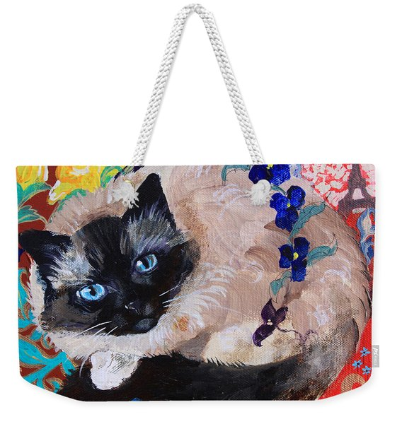 Kitty Goes To Paris Weekender Tote Bag
