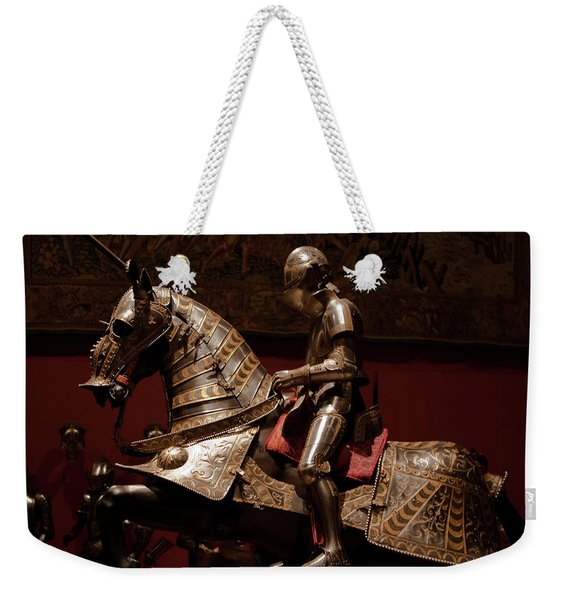 Weekender Tote Bag featuring the photograph Knight And Horse In Armor by Lorraine Devon Wilke