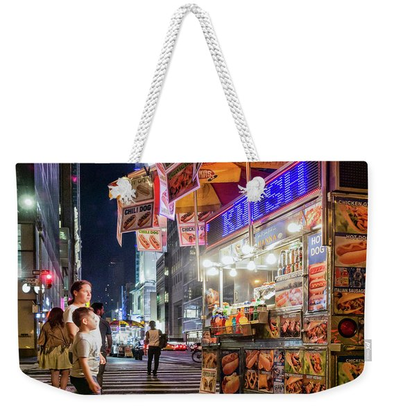 Weekender Tote Bag featuring the photograph Knish, New York City  -17831-17832-sq by John Bald