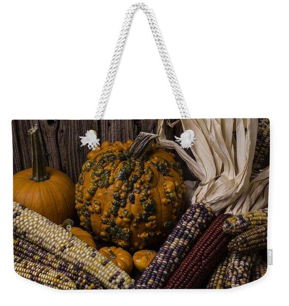 Knuklehead Pumpkin And Indian Corn Weekender Tote Bag