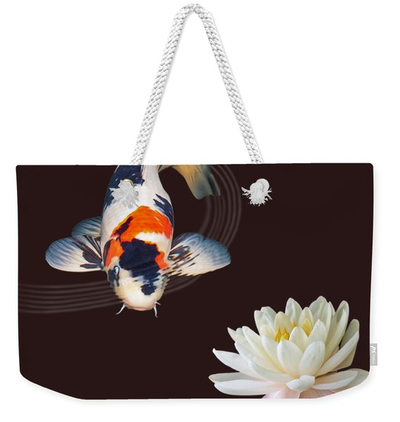 Koi Carp Abstract With Water Lily Square Weekender Tote Bag