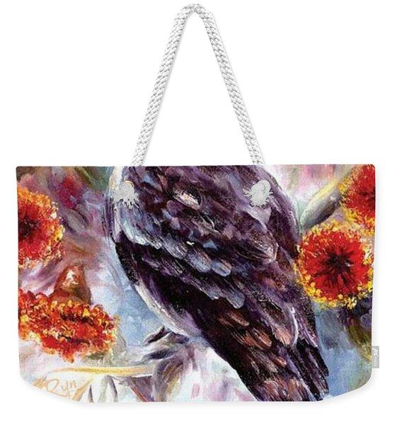 Kookaburra In Red Flowering Gum Weekender Tote Bag