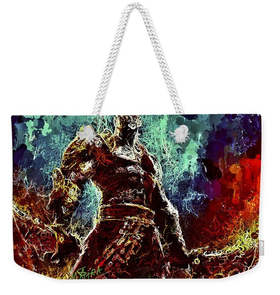 Weekender Tote Bag featuring the mixed media Kratos by Al Matra