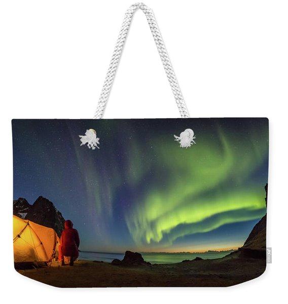 Kvalvika Under The Lights Weekender Tote Bag