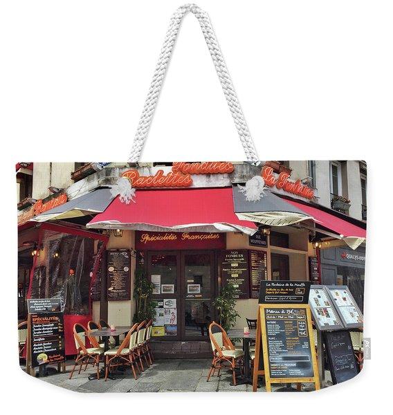 Weekender Tote Bag featuring the photograph La Fontaine De La Mouffe, Paris by Frank DiMarco