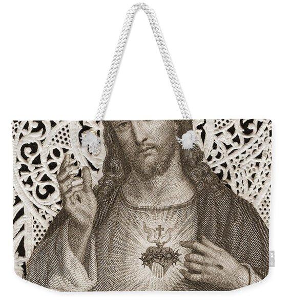 Lace Card Depicting The Sacred Heart Of Jesus Weekender Tote Bag