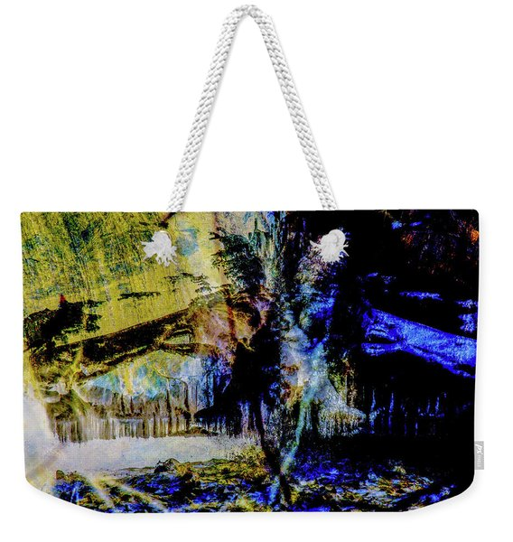 Lady At The Beach Through The Frozen Falls Weekender Tote Bag