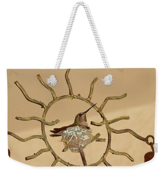 Lady Hummingbird On Her Nest Weekender Tote Bag