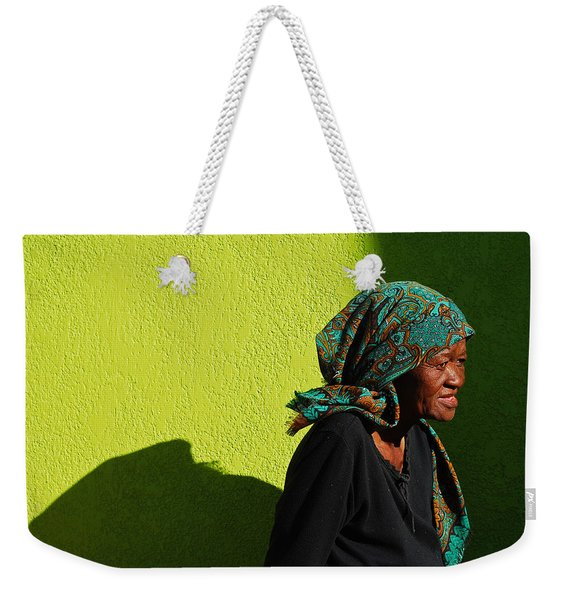 Weekender Tote Bag featuring the photograph Lady In Green by Skip Hunt