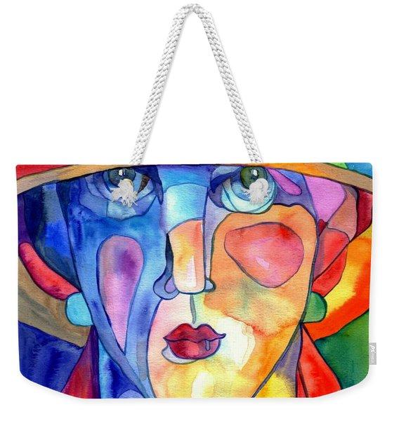Lady In Hat Watercolor Weekender Tote Bag