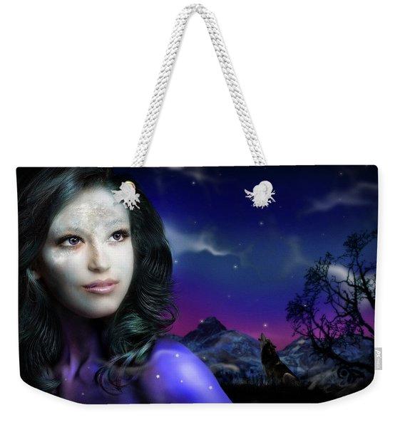 Lady Moon Weekender Tote Bag
