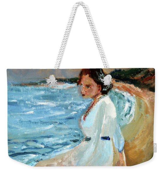Lady On The Beach Weekender Tote Bag