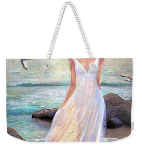 Lady Walking On The Beach Weekender Tote Bag