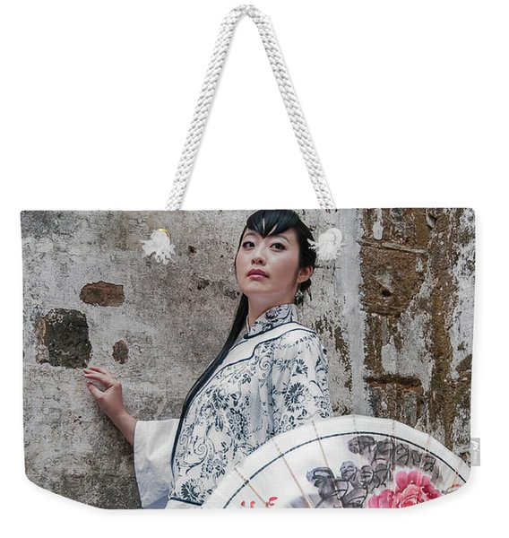 Lady With An Umbrella. Weekender Tote Bag