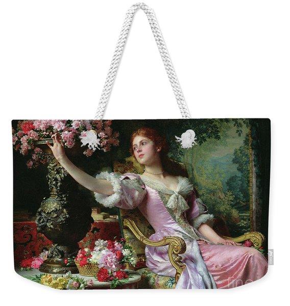 Lady With Flowers Weekender Tote Bag