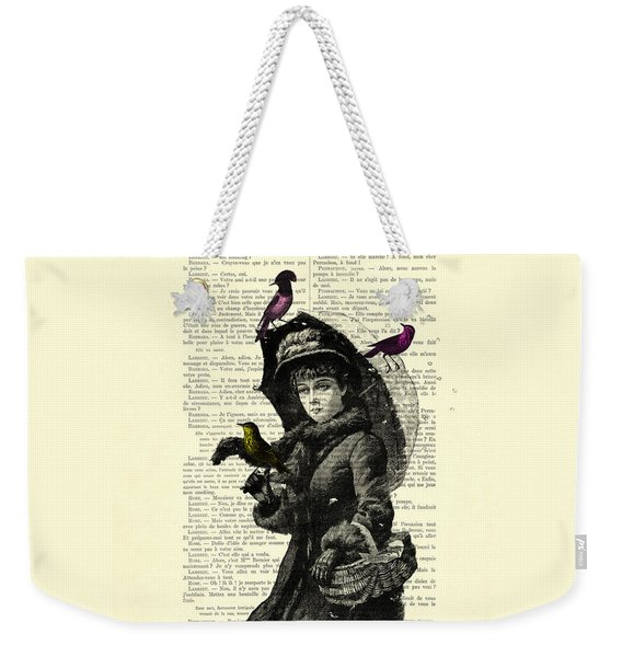 Lady With Umbrella In Winter Landscape Print On Old Book Page Weekender Tote Bag