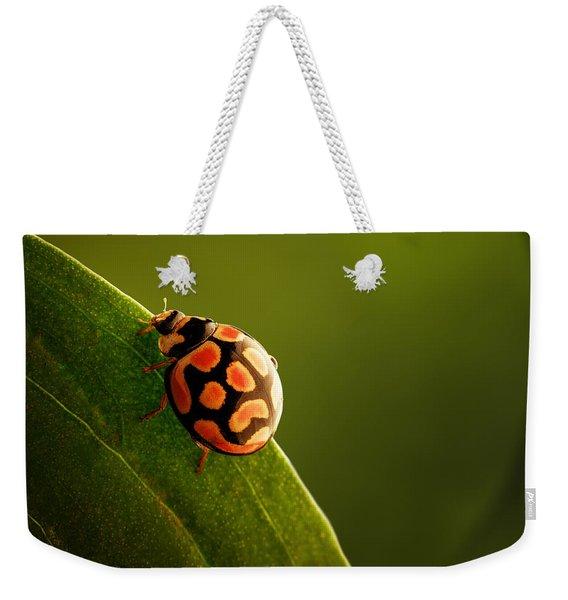 Ladybug  On Green Leaf Weekender Tote Bag
