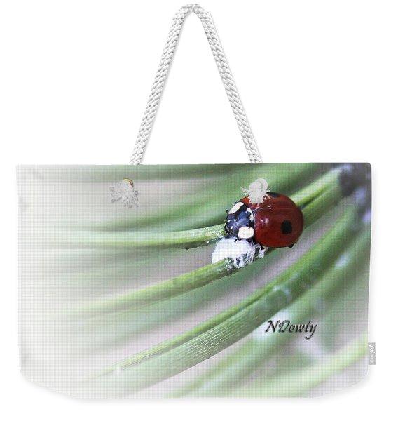 Ladybug On Pine Weekender Tote Bag