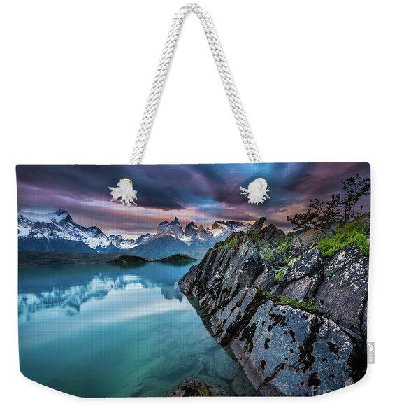 Lago Pehoe Twilight Weekender Tote Bag
