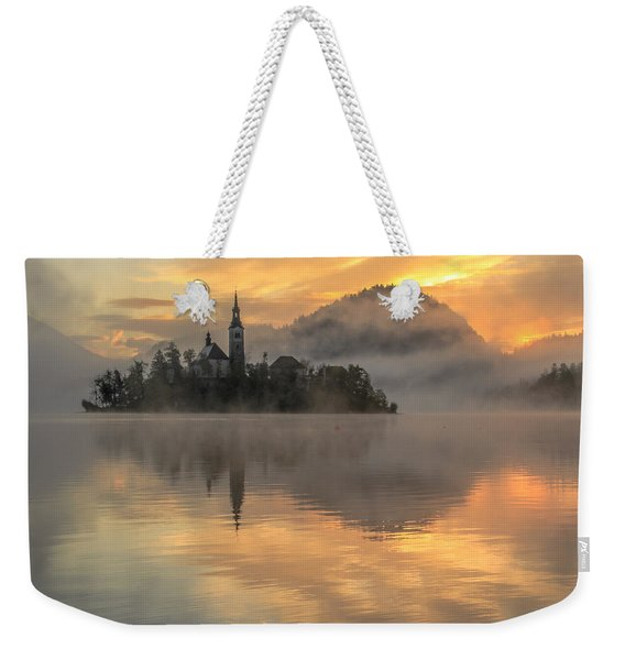 Lake Bled Sunrise Slovenia Weekender Tote Bag