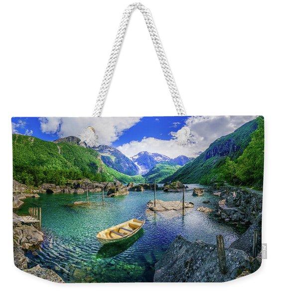 Weekender Tote Bag featuring the photograph Lake Bondhusvatnet by Dmytro Korol