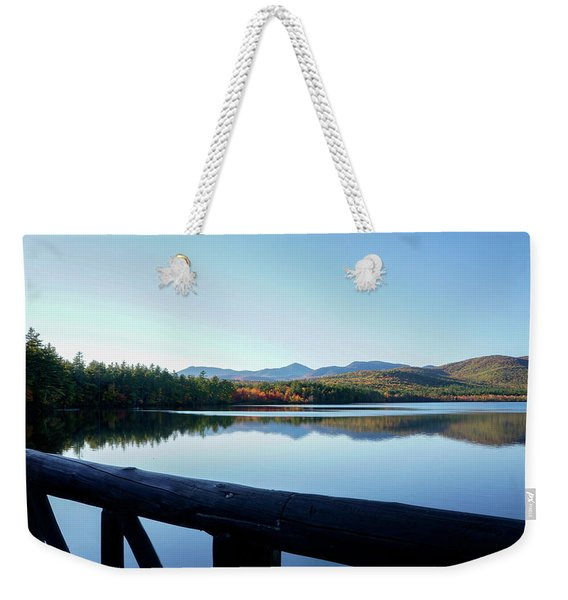 Weekender Tote Bag featuring the photograph Lake Chocorua Autumn by Nancy De Flon