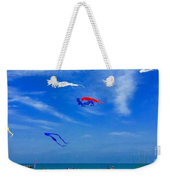 Lake Erie Kite Flying Weekender Tote Bag