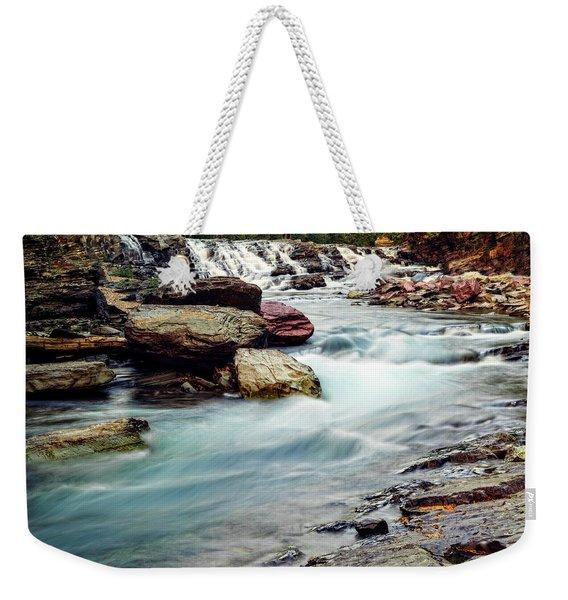 Lake Mcdonald Falls, Glacier National Park, Montana Weekender Tote Bag