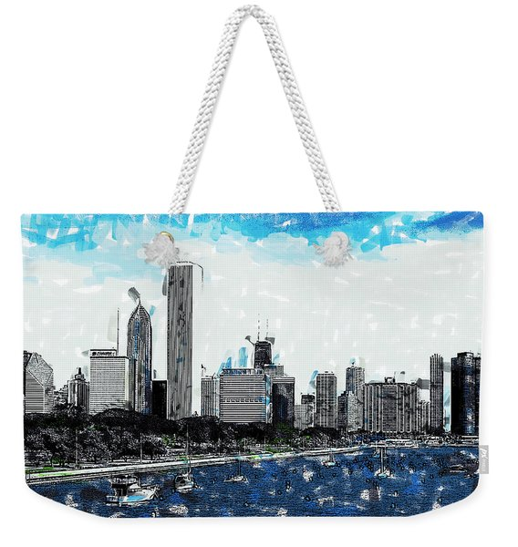 Lake Michigan And The Chicago Skyline Weekender Tote Bag