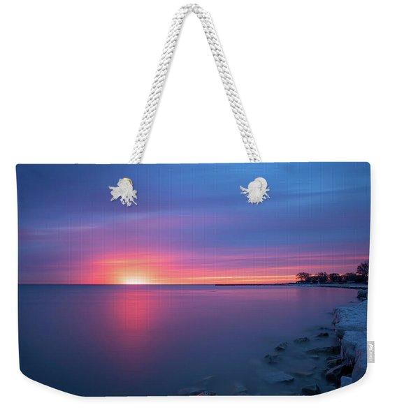 Lake Michigan Sunrise Weekender Tote Bag