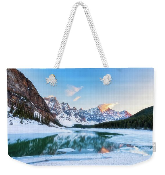 Lake Moraine Sunset Weekender Tote Bag