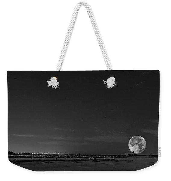 Lake Ontario Shoreline - A Winter Night 3 Bw Weekender Tote Bag