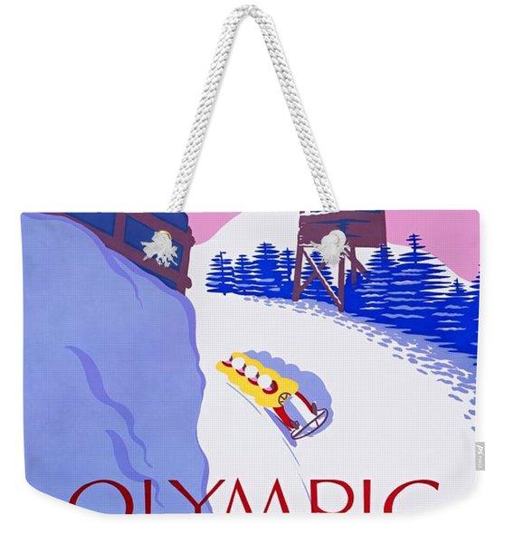 Lake Placid Olympic Bobsled Run, Poster 1937 Weekender Tote Bag