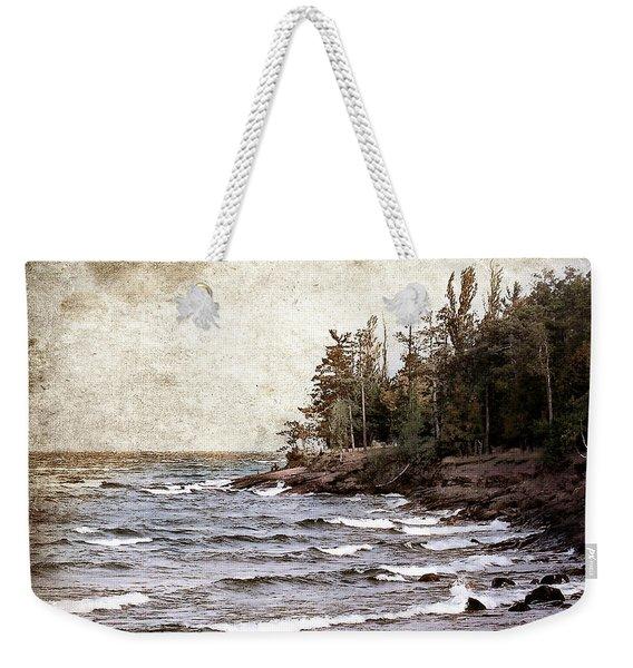 Lake Superior Waves Weekender Tote Bag