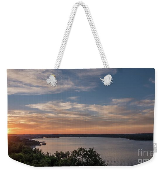 Lake Travis During Sunset With Clouds In The Sky Weekender Tote Bag