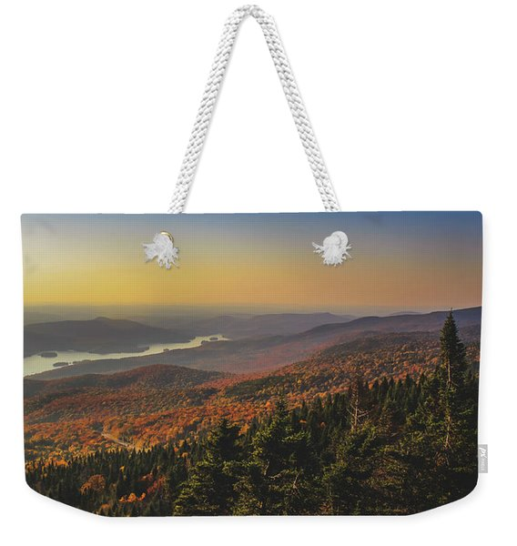 Weekender Tote Bag featuring the photograph Lake Tremblant At Sunset by Andy Konieczny