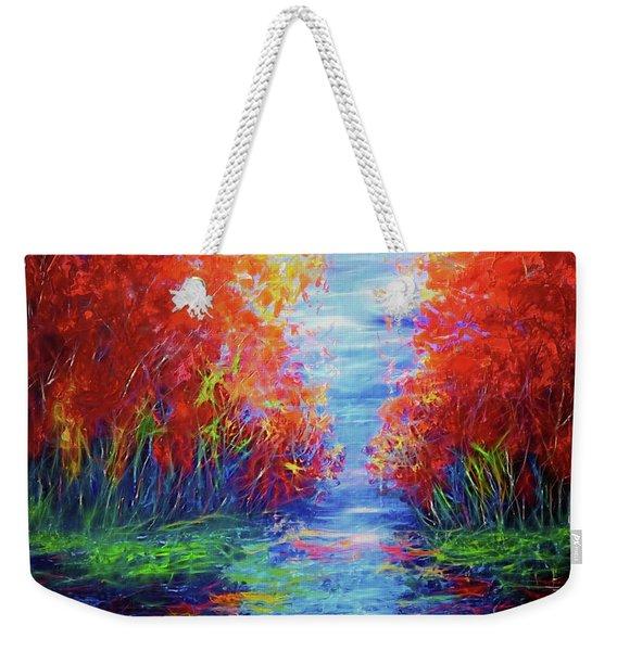 Olena Art Lake View Abstract Artwork Weekender Tote Bag