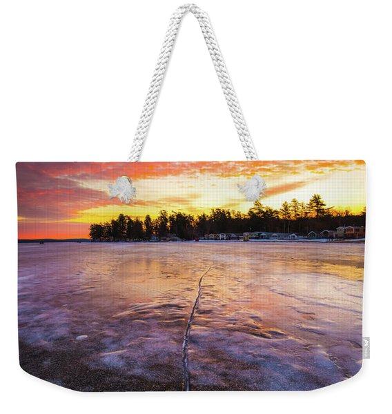 Lake Winnipesaukee January Sunrise Weekender Tote Bag
