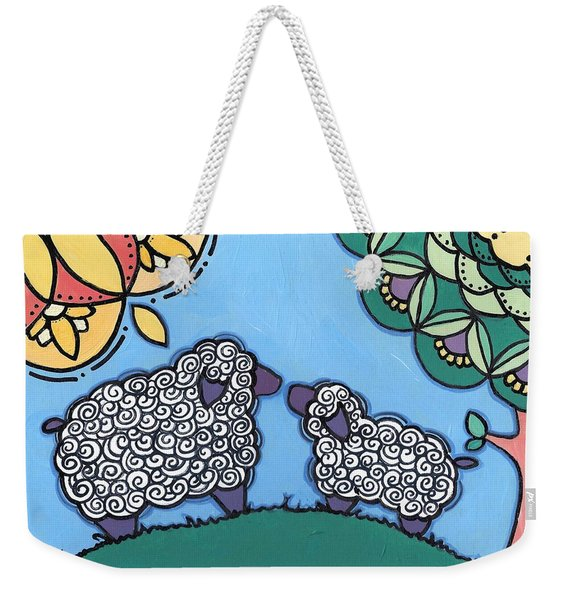 Lamb And Mama Sheep Weekender Tote Bag