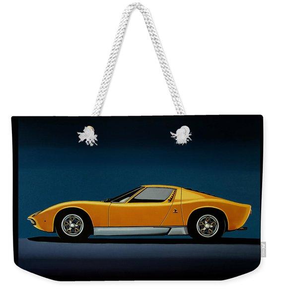 Lamborghini Miura 1966 Painting Weekender Tote Bag