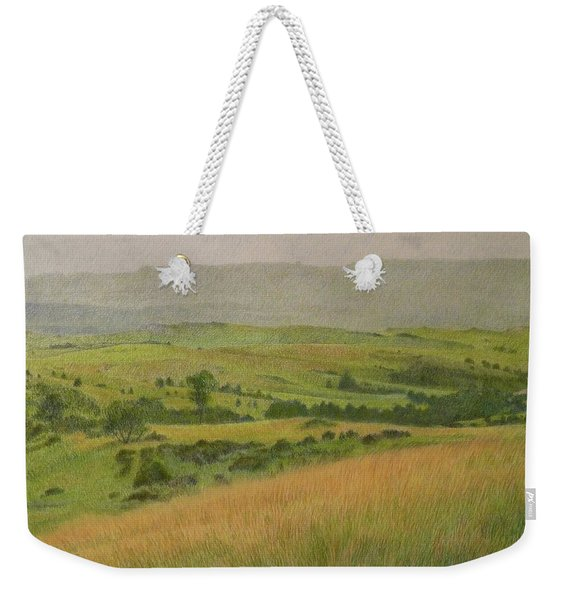 Weekender Tote Bag featuring the drawing Land Of Grass by Cris Fulton