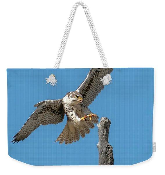 Landing Prairie Falcon Weekender Tote Bag