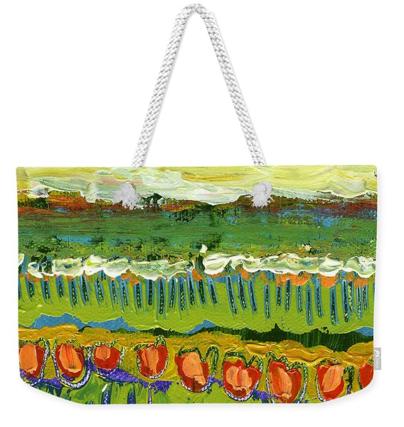Landscape In Green And Orange Weekender Tote Bag