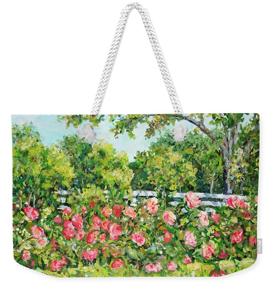 Landscape With Roses Fence Weekender Tote Bag