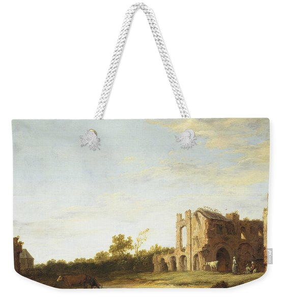 Landscape With The Ruins Of Rijnsburg Abbey Weekender Tote Bag