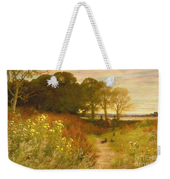 Landscape With Wild Flowers And Rabbits Weekender Tote Bag