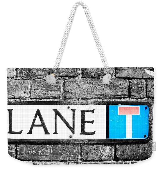 Lane Sign Weekender Tote Bag