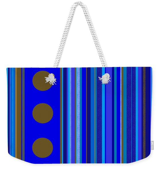 Large Blue Abstract - Panel Three Weekender Tote Bag