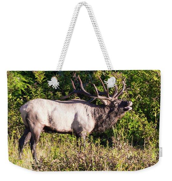 Large Bull Elk Bugling Weekender Tote Bag