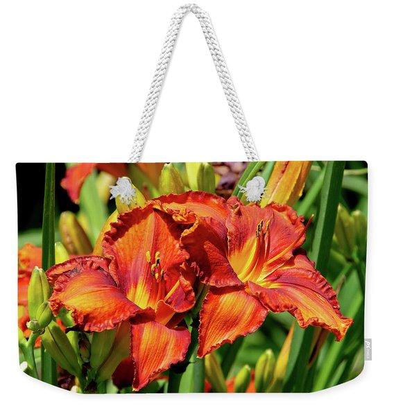 Large Deep Orange Tiger Lilys Weekender Tote Bag